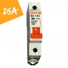 Автоматический выключатель ВА1-63  1 полюс  25А  4,5 кА (х-ка С)