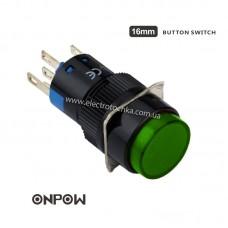 Лифтовая кнопка ONPOW 12В 16 мм 1NO 1NC с подсветкой зеленая LAS1-AY-11/R