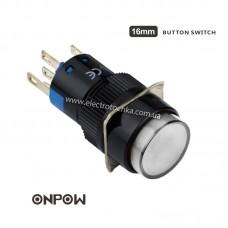 Лифтовая кнопка ONPOW 12В 16 мм 1NO 1NC с подсветкой белая LAS1-AY-11/R