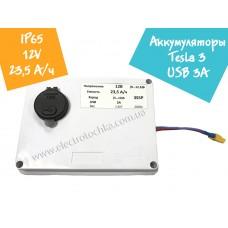 Аккумулятор 12В 23,5А/ч 3S5P в корпусе IP65 с выключателем и USB портом 3А на базе аккумуляторов Tesla Model 3