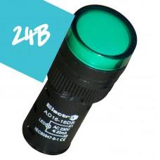 Арматура светосигнальная AD16 LED матрица 16mm зеленая 24В AC/DC