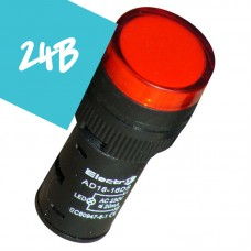 Арматура светосигнальная AD16 LED матрица 16mm красная 24В AC/DC