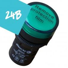 Арматура светосигнальная AD22 LED матрица 30mm зеленая 24В AC/DC