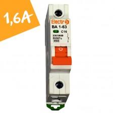 Автоматический выключатель ВА1-63  1 полюс  1,6А  4,5 кА (х-ка С)