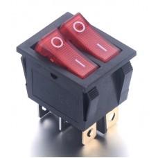 Выключатель кнопочный на две кнопки KCD8 ВКЛ-ВЫКЛ на 2 положения 6Pin с красной подсветкой 15A 250V