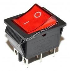 Выключатель кнопочный KCD4 202N ВКЛ-ВЫКЛ на 2 положения 6Pin с красной подсветкой 16A 250V