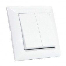 Выключатель двухклавишный белый 16А 250В
